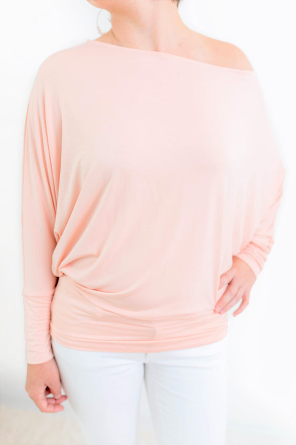 Light Pink One Shoulder Top