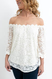 Cream Off-the-Shoulder Lace Top
