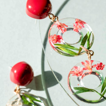FLORAL DONUT-Handmade-Statement-Earrings-Accessories-Red two loops-Funky Fun You