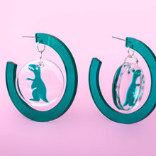 Load image into Gallery viewer, GREEN DINOSAUR - Funky Fun You-Handmade Statement Earrings