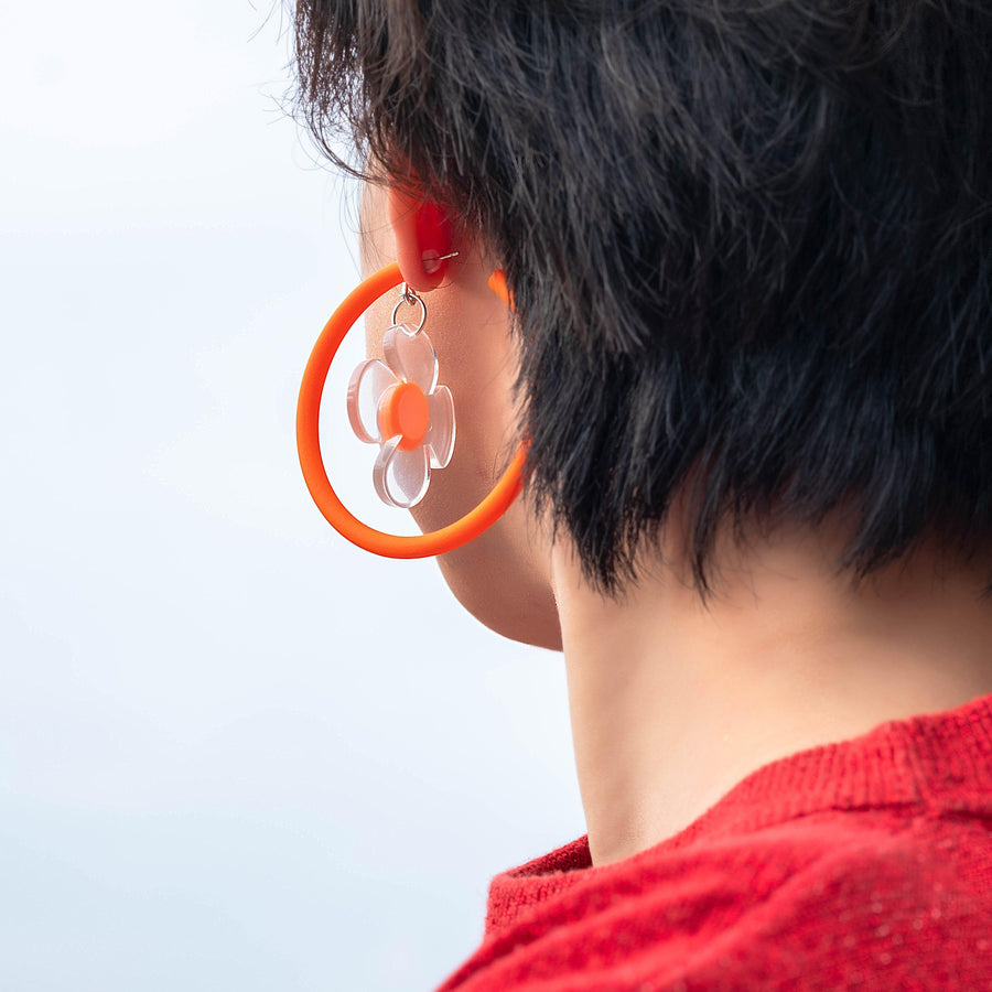 LUCKY PETALS-Handmade-Statement-Earrings-Accessories-Orange Circle-Funky Fun You