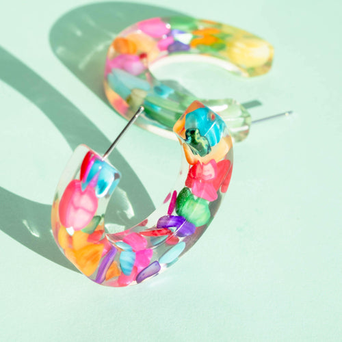 SHELL STONE HOOPS - Funky Fun You-Handmade Statement Earrings