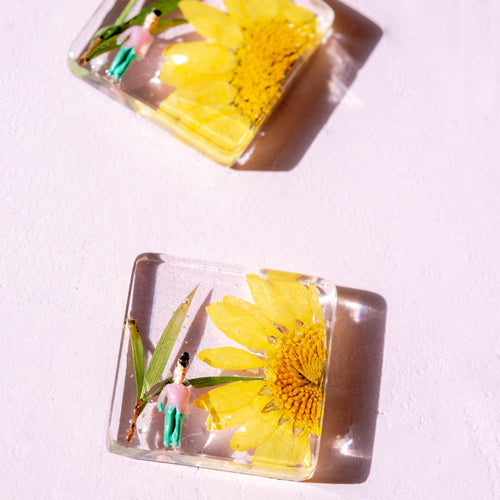 SUNFLOWER STUDS - Funky Fun You-Handmade Statement Earrings