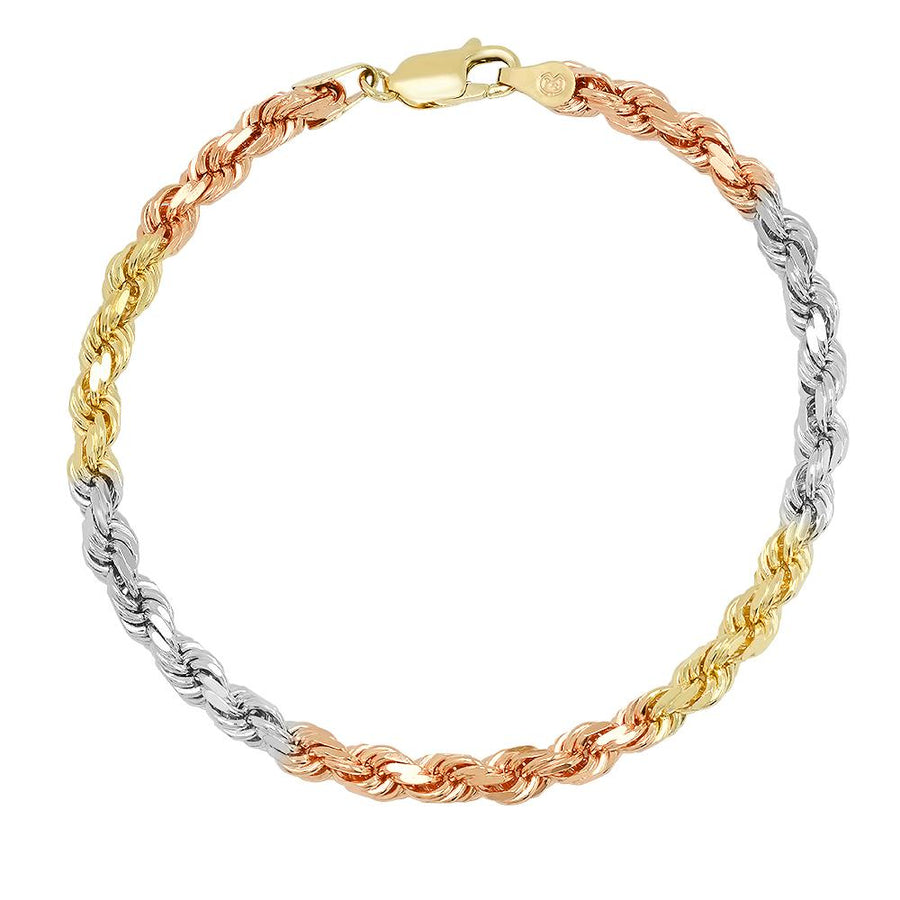 7MM TRI COLOR Rope Bracelet (DIAMOND CUT)
