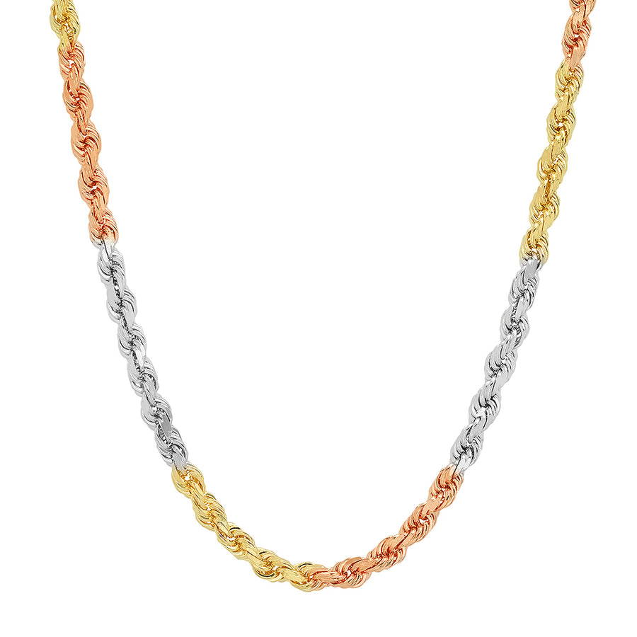 4MM TRI COLOR Rope Chain (DIAMOND CUT)
