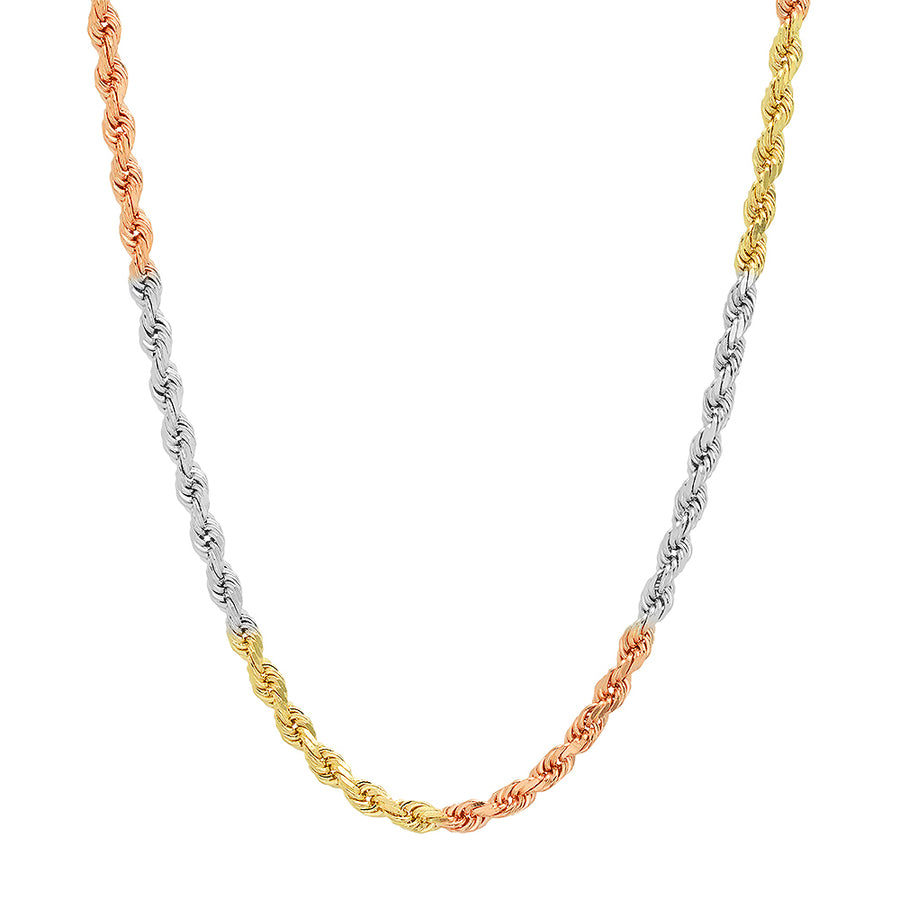 3MM TRI COLOR Rope Chain (DIAMOND CUT)