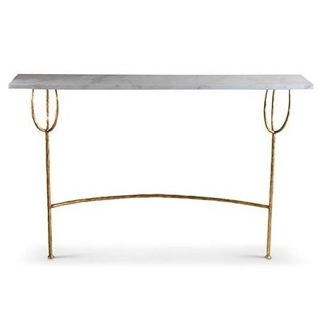Logan Hall Table - Gold with Calacatta Primavera