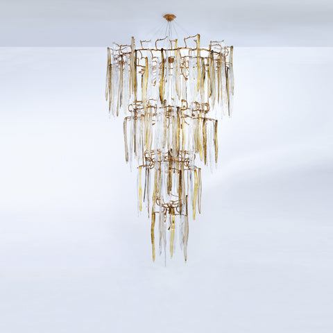 Waterfall Staircase 4-Tier Chandelier