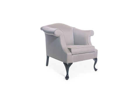 Traditional Camelback Lounge Chair with Queen Anne Legs