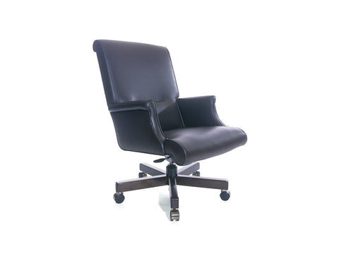 Traditional Vienna Swivel Chair Mid Back with Closed Upholstered Arm