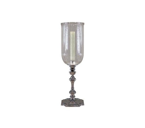 LARGE SILVER CANDLESTICK WITH GLASS HURRICANE