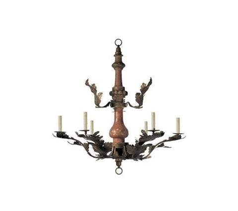 SMALL WOOD & TOLE CHANDELIER