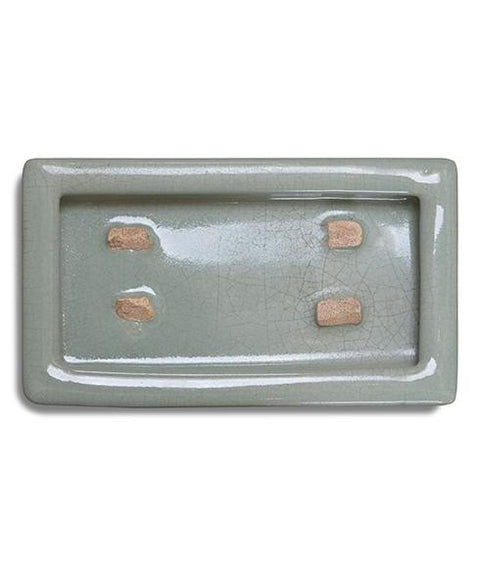 CRACKLEWARE RECTANGLE PLATE, CELADON