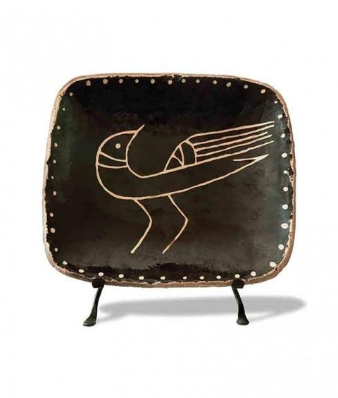 RECTANGULAR SLIPWARE BIRD PLATE - FACING RIGHT