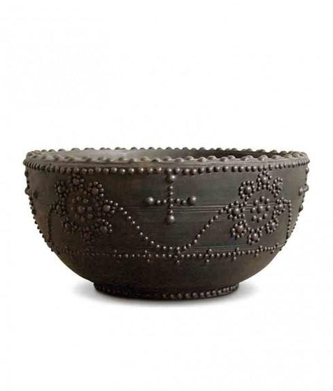 REPRODUCTION STUDDED WOOD BOWL