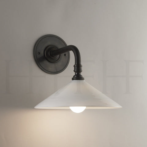 Glass Coolie Wall Light with Straight Arm Bracket