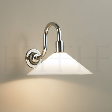 Glass Coolie Wall Light with Swan Neck Bracket