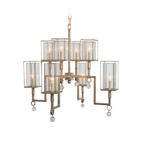 Ziggurat Chandelier with Rock Crystal Accents