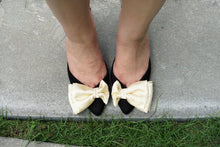 Load image into Gallery viewer, Philippines Pretty Shoes Sala Chaussures Veronica Black suede mules with kitten heels and yellow satin bow