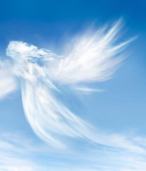 An angel form appears in clouds on a background of blue sky