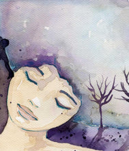 A watercolour painting of a woman's face with closed eyes and trees in the background, reminiscent of a dream
