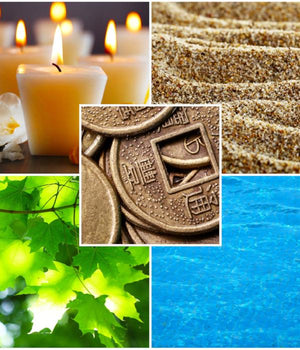 A collage of the Five elements of Eastern holistic therapy