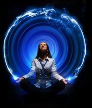 Woman with glowing blue vortex