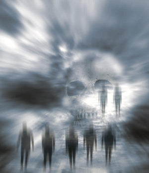 A ghostly artwork featuring parapsychology phenomena and a skull