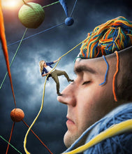 A psychologist climbs up the face of a man using string representing his mind