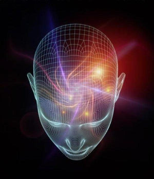 A 3D image of a human head with a colourful hypnotic vortex emanating from the forehead on a black backround