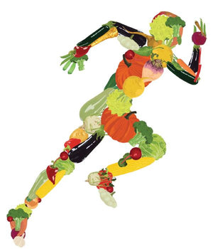 Running man made of vegetables graphic