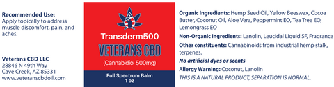 500mg CBD Topical Healing Balm