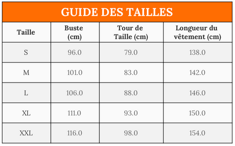 Guide taille abaya robe
