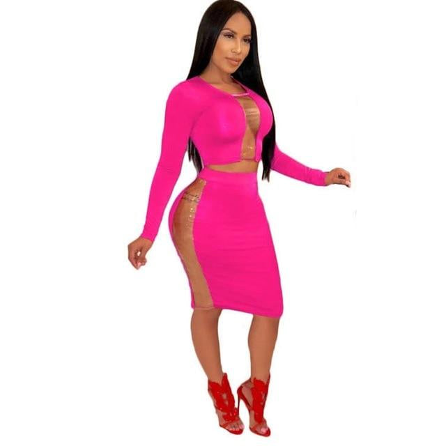 Plus Size 2 Two Piece Crop Top+High Waist Bandage Midi Skirt