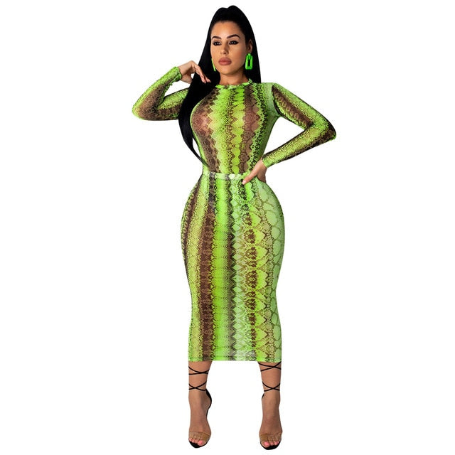 Plus Size Snake Print Contour Dress