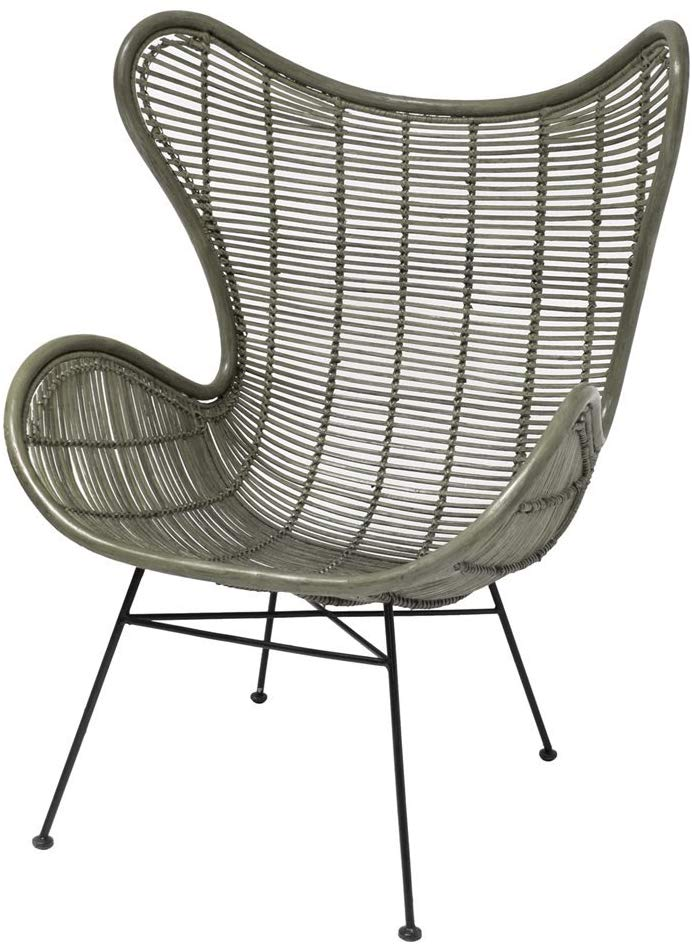 Rattan egg chair olive green
