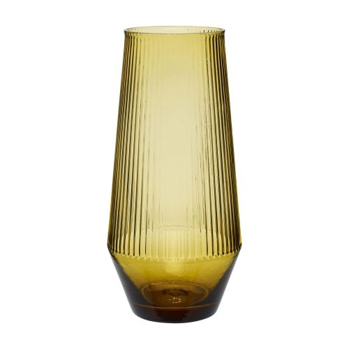 Ribbed Glass Vase: Amber