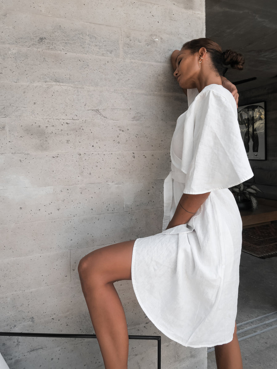 Ayla Linen Wrap Dress: Natural