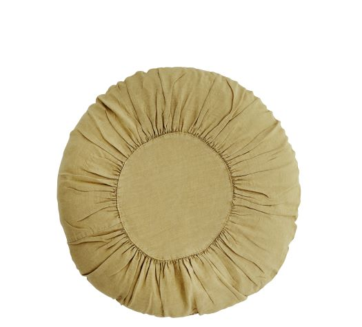 Round Linen Cushion Tapenade