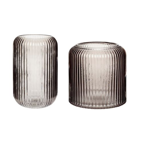 Ribbed Glass Vase Smoke Small - Hubsch