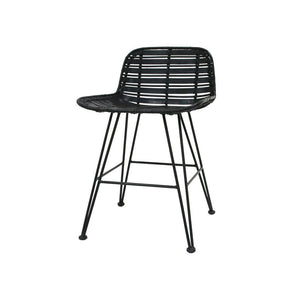 Rattan Mini Bar Stool Black Hokaido
