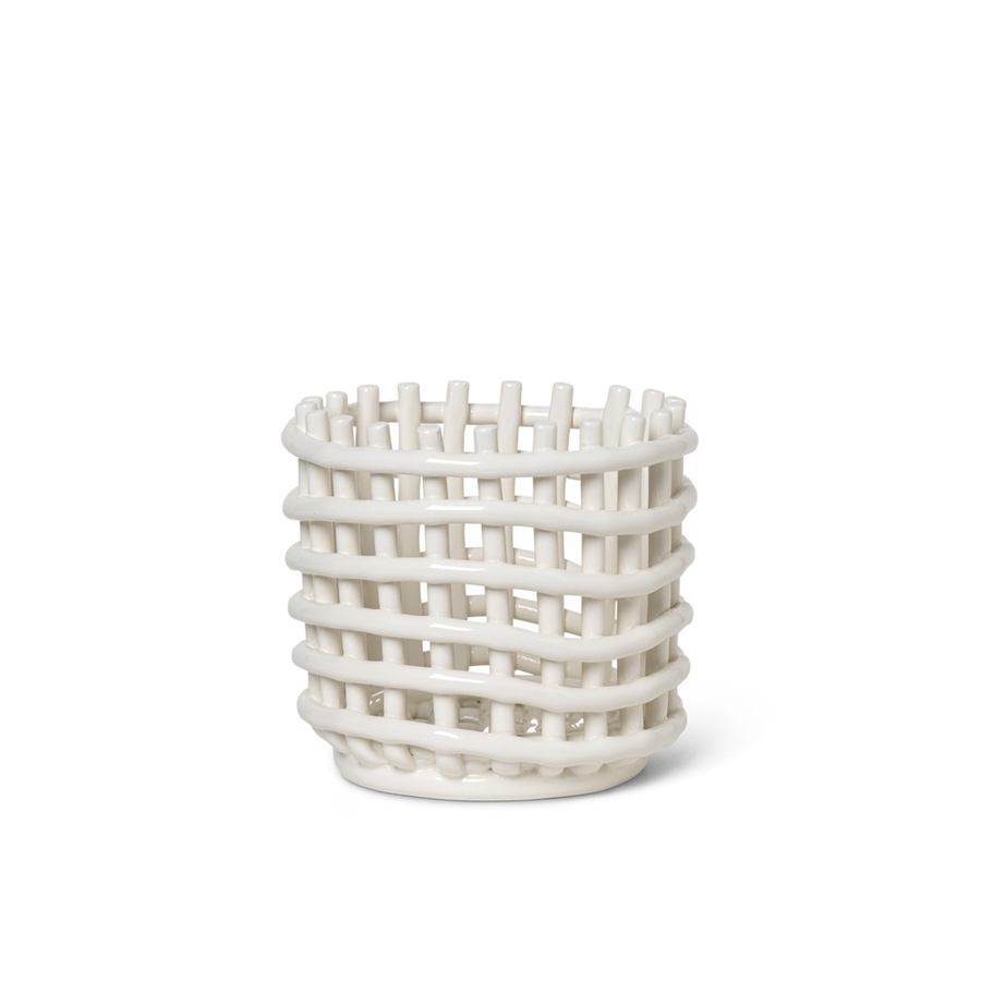 Ceramic Basket Small: White