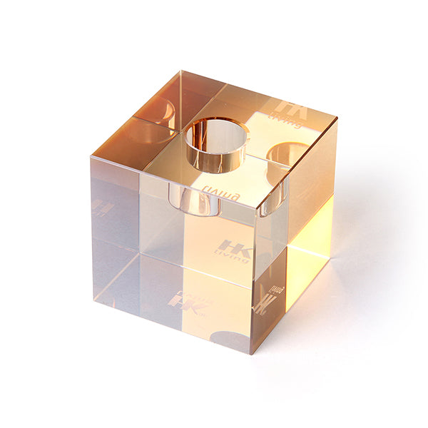Crystal Glass Candle Holder Amber Cube