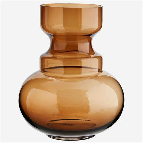 Glass Round Vase: Brown
