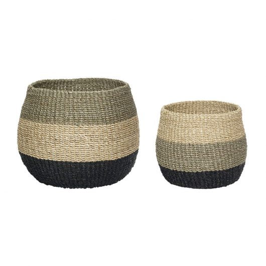 Abaca Striped Basket: Medium