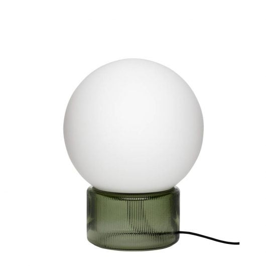 Opal & Green Glass Table Lamp