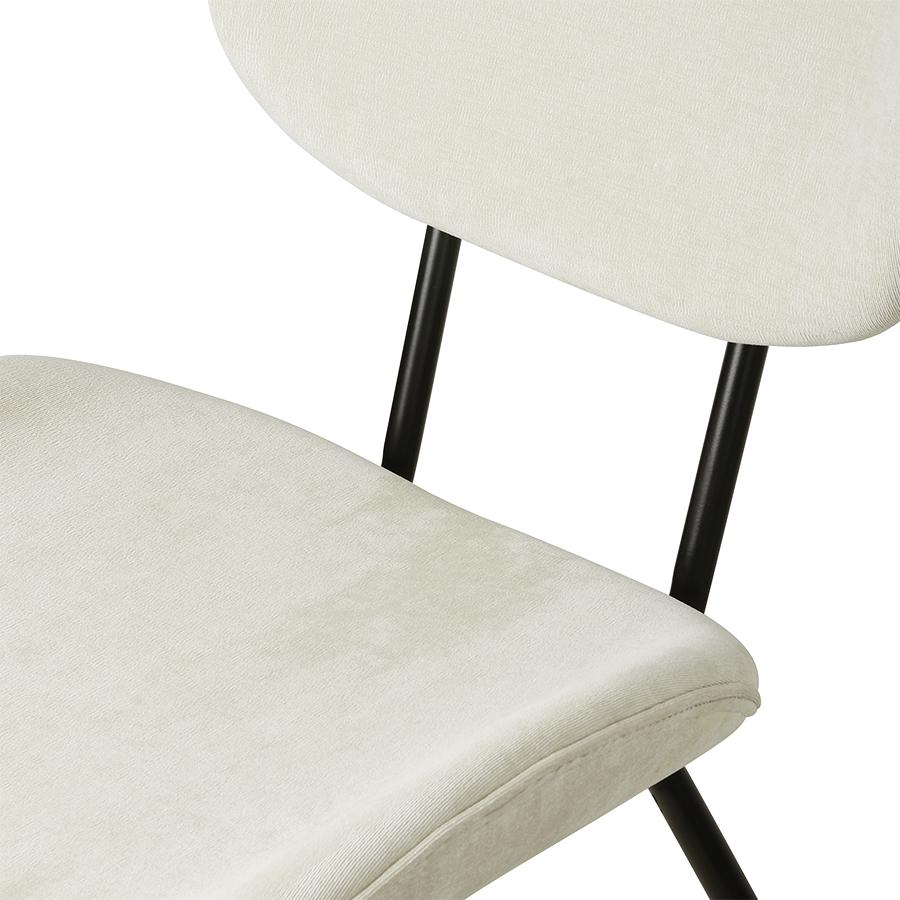 Velvet Dining Chair Creme Rib