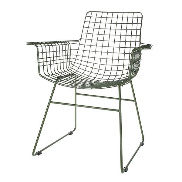 Metal wire chair with arms army green