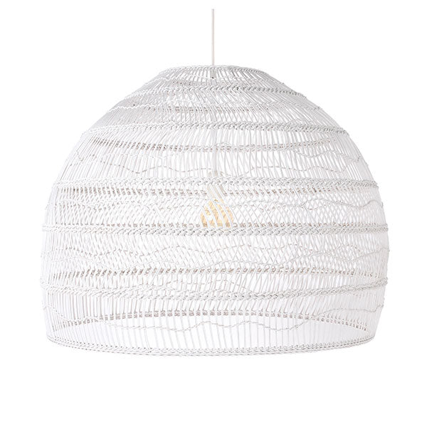 Wicker Hanging Lamp Ball Large White