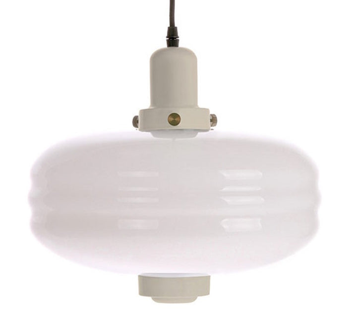 White Glass Pendant L Creme